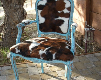 Western Chic Turquoise and Cowhide Victorian Chair