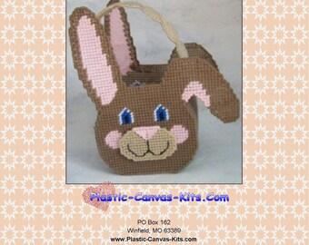Brown Easter Bunny Basket-Plastic Canvas Pattern-PDF Download