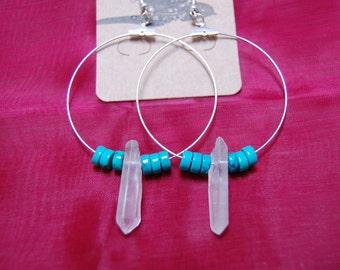 Clear quartz crystal turquoise beaded silver hoop earrings