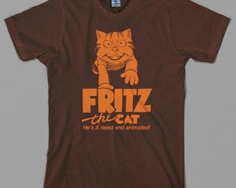 Fritz the Cat Movie T Shirt  - 70s, nine lives, comic, kitten, meow, graphic novel, crumb - Graphic tee, All Sizes & Colors