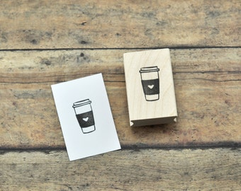 Love Coffee Rubber Stamp, Hand Carved Stamp