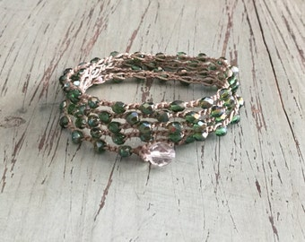 St Patricks day lucky Boho beach wrap bracelet or necklace Boho Beach Glam/ Beach jewelry/waterproof/versatile