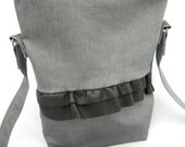 Grey Denim Side Bag with Leather Detail