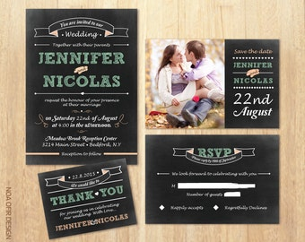 Chalkboard Wedding Invitation Set, Vintage Invitation, Peach and Green Invitation, Printable DIY Invite, RSVP, Save The Date,Thank You Card