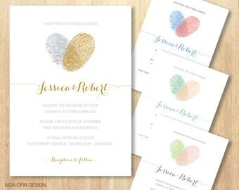 Fingerprint Wedding Invitation, Heart Wedding Invitation, Fingerprint Invitation, Heart Invitation, Printable Invitation, DIY Invitation