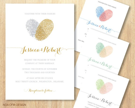 Heart Wedding Invitations Uk: Fingerprint Wedding Invitation Heart Wedding Invitation