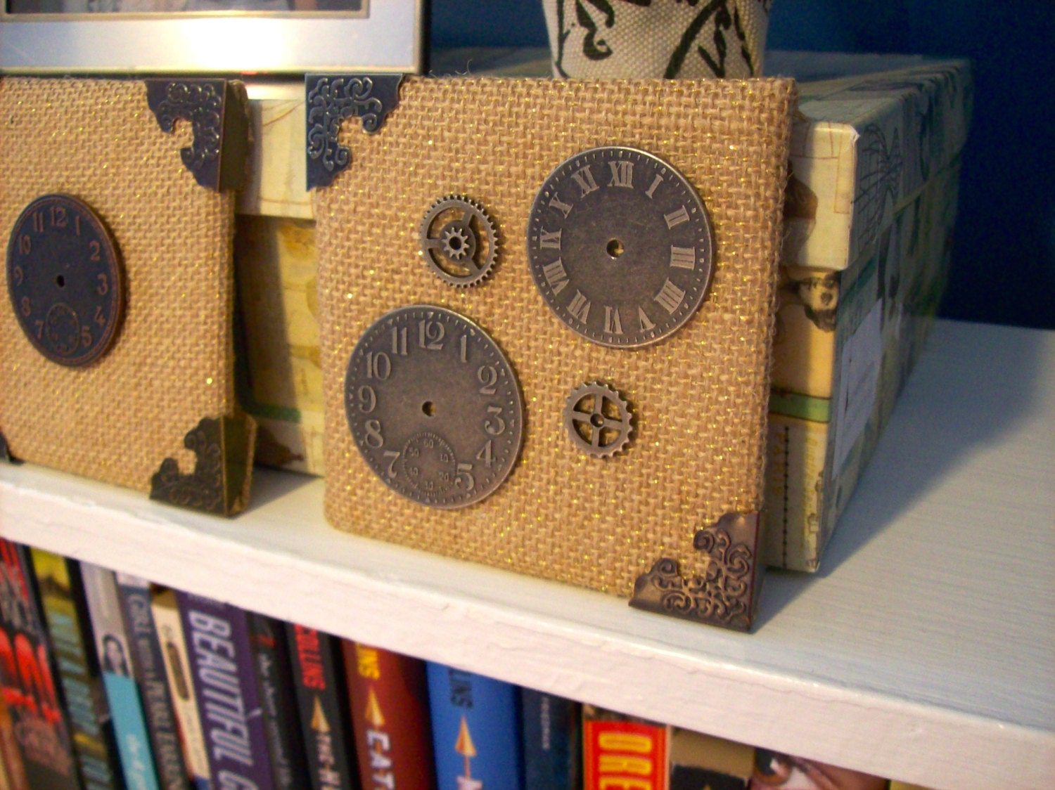 Steampunk Burlap Canvas Home Decor Set Of 3 With Nickel