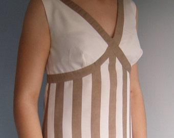 Vintage 1960s white coffee striped full length dress, grecian style