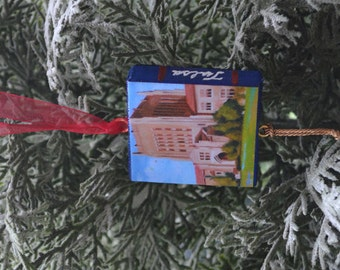 UNIVERSITY of TULSA Ornament or Magnet / College Ornament or Magnet / TU Mini Canvas Ornament or Magnet