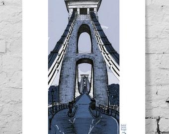 Art giclee print, Clifton Suspension Bridge, Bristol, UK. Industrial architecture, illustration, hand drawn, pen and ink