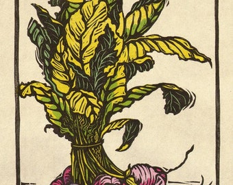 Bouquet of Radishes, Woodblock print