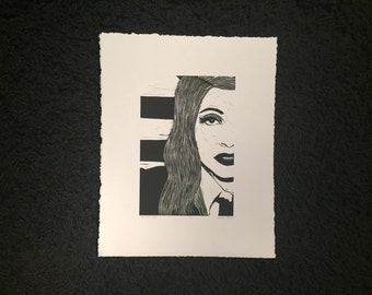"Lady Gaga ""United We Stand"" Hand carved linoleum print. 11"" x 14""."