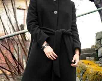 New! Black Wool Coat / Black Hood Coat / Woman Coat / Elegant Black Hoodie