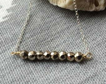 Silver and Gold// Pyrite Beaded Bar Layering Necklace on Sterling Silver Chain