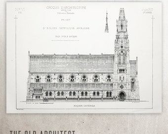 French architecture | English Catholic Church | Art Print reproduction of Croquis lithography | Gift for architect | Hahnemühle Art Paper