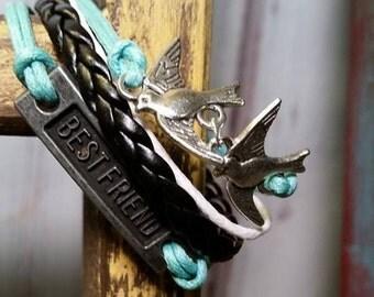Bff bracelet birds bracelet black and turquoise charm bracelet thank you friend gift charm bracelet graduation gift sister birthday gift
