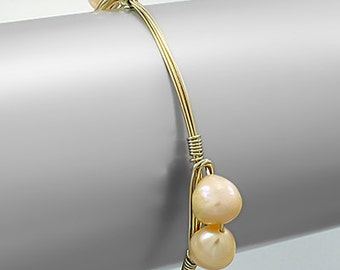 Pink Pearl Wire Bangle