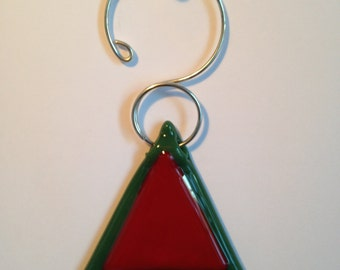 Green with red fused glass Christmas tree ornament