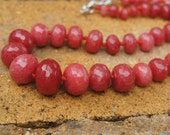Agate Bead Necklace - Rose agate necklace with orange and red semi precious stones. Beautiful handmade gift for her.
