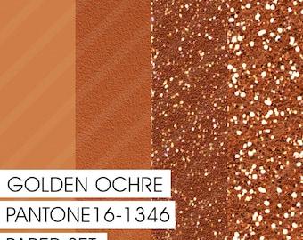 PANTONE Golden Ochre 16-1346 MARSALA Color Pairings Set 02