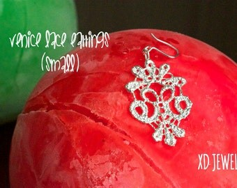 Gold plated Bronze lace Earrings! Venice Lace Earrings! Beautiful and comfortable Gold plated Bronze Lace Earrings