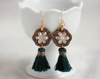 SMALL TASSEL EARRINGS / green tassel jewelry / unique jewelry gift for her