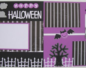 Purple and Black Halloween  12 X 12 Premade Scrapbook Pages