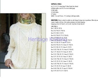 Womens cable knit jumper knitting pattern 99p