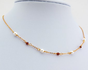 Gold plated necklace w. delicate pearls and small garnets, pearl and garnet necklace, gold plated, gemstone jewelry, pearl necklace