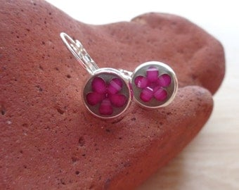 Concrete earrings - Magenta flower lever back earrings- Magenta flower dangle earrings - Concrete jewelry - Children's earrings