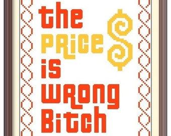 The Price is wrong! Happy Gilmore Adam Sandler Cross Stitch Pattern; Buy 2 Patterns Get 1 FREE!!