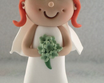 Bride Wedding Cake Topper, Bride And Groom, Novelty Topper, Handmade Mini Topper
