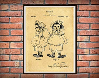 Patent 1915 Raggedy Ann Doll Patent Art Print Designed by John Gruelle  - Poster Print - Wall Art Childs Room Nursery Wall Art