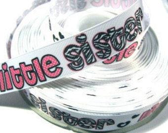 7/8 inch Little Sister Zebra Letters on White - Printed Grosgrain Ribbon for Hair Bow