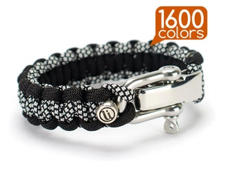 Paracord bracelet with buckle - Paracord bracelet «Cobra» with real stainless steel buckle. Top quality, teg, box, 1600 colors!