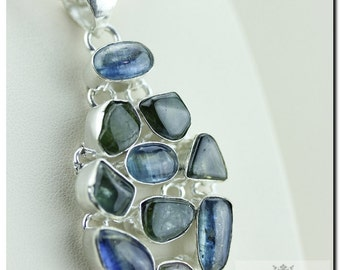 Genuine Russian Chrome Tourmaline Kyanite 925 SOLID Sterling Silver Pendant + 4mm Snake Chain & FREE Worldwide Shipping