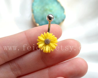 Yellow resin flower belly button ring, Navel Piercing, friendship belly rings, Dangle Belly Ring , Belly Button Piercing, Belly jewelry