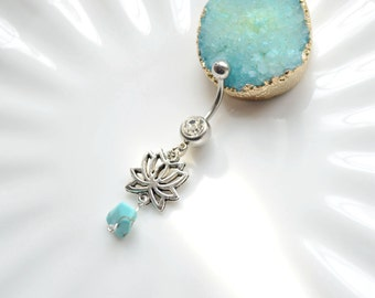 Silvery flower belly button ring, Belly Button Piercing ,Navel Piercing, belly rings, Dangle Belly Ring , Belly Button Piercing