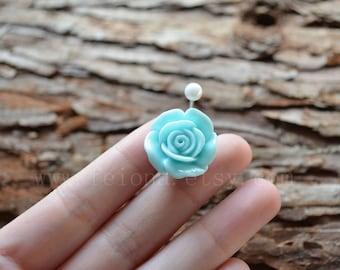 Sky Blue resin flower belly button ring, Rose Navel Piercing, friendship belly rings, Belly Ring , Belly Button Piercing, Belly jewelry