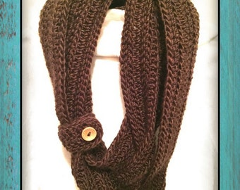 Handmade Crochet Infinity Scarf with Button Cuff
