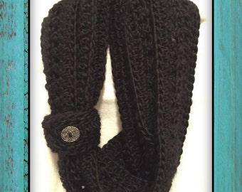 Cross Double Crochet Infinity Scarf with Button Cuff