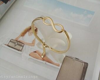 Gold Infinity Bangle Bracelet, Gold Bangle Bracelet, Gold Infinity Bracelet, Gold Bangle Charm Bracelet, Open Bangle, Charm Bangle Bracelet