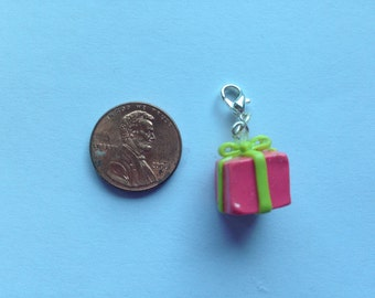 Pink and Green Present Polymer Clay Charm