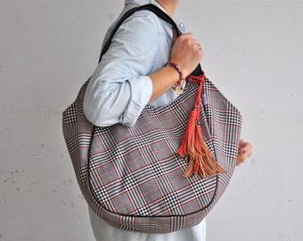 CLEARANCE - large tote bag, hobo bag, shoulder bag, cotton bag, with tassels