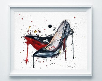 Chanel Print Chanel Shoes Poster Fashion Watercolor Coco Chanel Poster Paris Modern Fashion Illustration Print Abstract Art Wall Decor A132