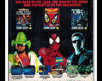 "Vintage Print Ad 1990's : Sega Game Gear WWF Wrestle Mania / Spider-Man / Terminator 2 Wall Art Decor 6.5"" x 10"""
