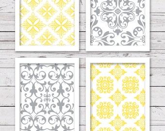 PRINTABLE Art Set, Yellow Gray Art, Bedroom Art, Digital INSTANT DOWNLOAD, Printable Art, Yellow and Grey Art, Home Decor, Wall Decor