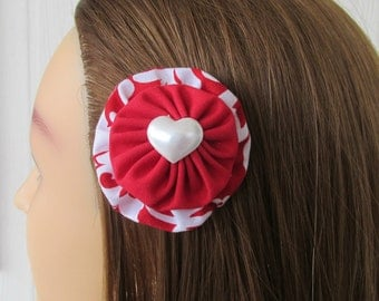 Red Damask HairClip, Fabric YoYo Barrette, Red and White Clip, Heart Hair Clip, Valentine's Hair Clips, eclectiKIDS