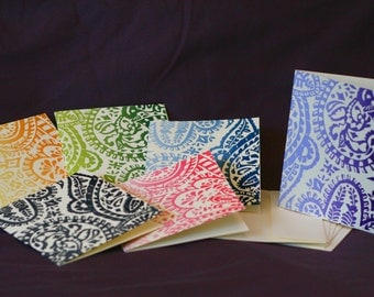 Paisley-patterned blank greeting cards with envelopes, set of 6.