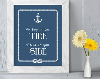 Romantic Ceremony Poster DIY Printable // Nautical Wedding Sign // Anchor & Rope Infinity Knot // In High or Low Tide ▷ Instant Download